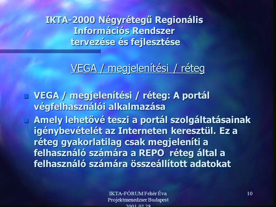 IKTA-FÓRUM Fehér Éva Projektmenedzser Budapest 2001.02.28 10 IKTA-2000 Négyrétegű Regionális Információs Rendszer tervezése és fejlesztése VEGA / megjelenítési / réteg n VEGA / megjelenítési / réteg: A portál végfelhasználói alkalmazása n Amely lehetővé teszi a portál szolgáltatásainak igénybevételét az Interneten keresztül.