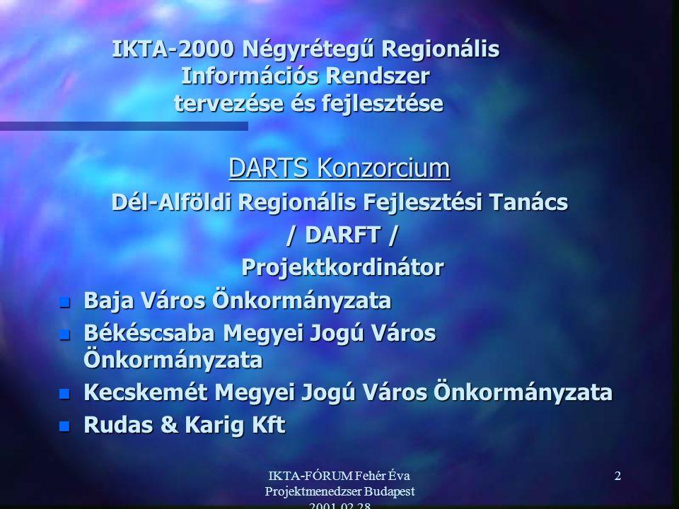 IKTA-FÓRUM Fehér Éva Projektmenedzser Budapest 2001.02.28 2 IKTA-2000 Négyrétegű Regionális Információs Rendszer tervezése és fejlesztése DARTS Konzorcium Dél-Alföldi Regionális Fejlesztési Tanács / DARFT / / DARFT / Projektkordinátor Projektkordinátor n Baja Város Önkormányzata n Békéscsaba Megyei Jogú Város Önkormányzata n Kecskemét Megyei Jogú Város Önkormányzata n Rudas & Karig Kft