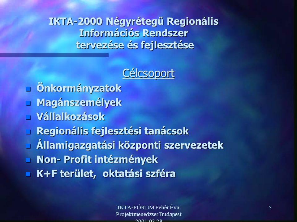 IKTA-FÓRUM Fehér Éva Projektmenedzser Budapest 2001.02.28 5 IKTA-2000 Négyrétegű Regionális Információs Rendszer tervezése és fejlesztése Célcsoport n Önkormányzatok n Magánszemélyek n Vállalkozások n Regionális fejlesztési tanácsok n Államigazgatási központi szervezetek n Non- Profit intézmények n K+F terület, oktatási szféra
