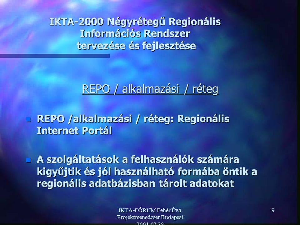 IKTA-FÓRUM Fehér Éva Projektmenedzser Budapest 2001.02.28 9 IKTA-2000 Négyrétegű Regionális Információs Rendszer tervezése és fejlesztése REPO / alkalmazási / réteg n REPO /alkalmazási / réteg: Regionális Internet Portál n A szolgáltatások a felhasználók számára kigyűjtik és jól használható formába öntik a regionális adatbázisban tárolt adatokat