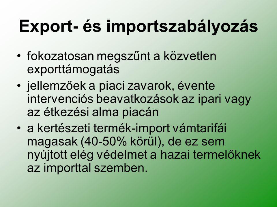 Export- és importszabályozás fokozatosan megszűnt a közvetlen exporttámogatás jellemzőek a piaci zavarok, évente intervenciós beavatkozások az ipari vagy az étkezési alma piacán a kertészeti termék-import vámtarifái magasak (40-50% körül), de ez sem nyújtott elég védelmet a hazai termelőknek az importtal szemben.