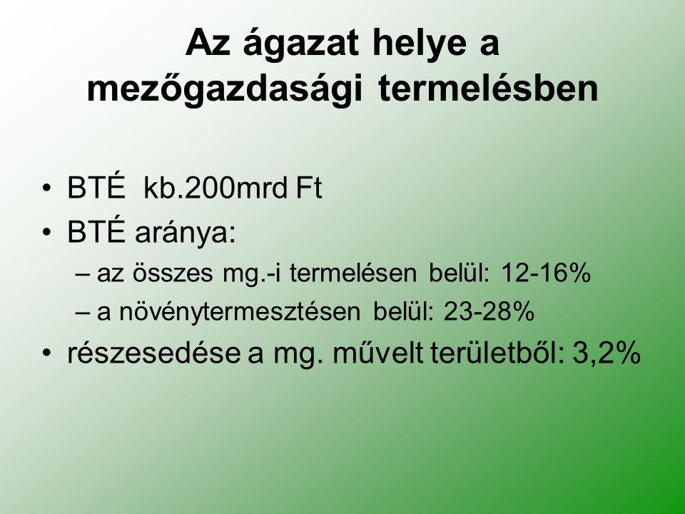Az ágazat helye a mezőgazdasági termelésben BTÉ kb.200mrd Ft BTÉ aránya: –az összes mg.-i termelésen belül: 12-16% –a növénytermesztésen belül: 23-28% részesedése a mg.