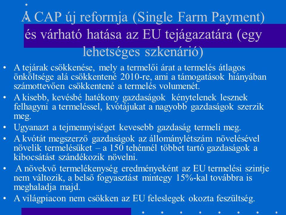 A CAP új reformja (Single Farm Payment) és várható hatása az EU tejágazatára (egy lehetséges szkenárió) A tejárak csökkenése, mely a termelői árat a t