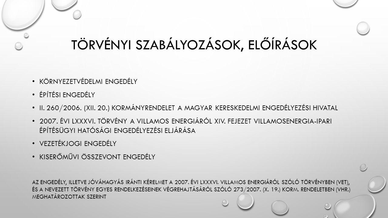 TÖRVÉNYI SZABÁLYOZÁSOK, ELŐÍRÁSOK KÖRNYEZETVÉDELMI ENGEDÉLY ÉPÍTÉSI ENGEDÉLY II. 260/2006. (XII. 20.) KORMÁNYRENDELET A MAGYAR KERESKEDELMI ENGEDÉLYEZ