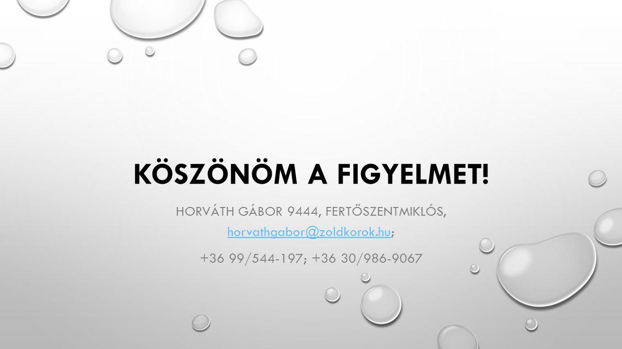 KÖSZÖNÖM A FIGYELMET! HORVÁTH GÁBOR 9444, FERTŐSZENTMIKLÓS, horvathgabor@zoldkorok.hu; horvathgabor@zoldkorok.hu +36 99/544-197; +36 30/986-9067
