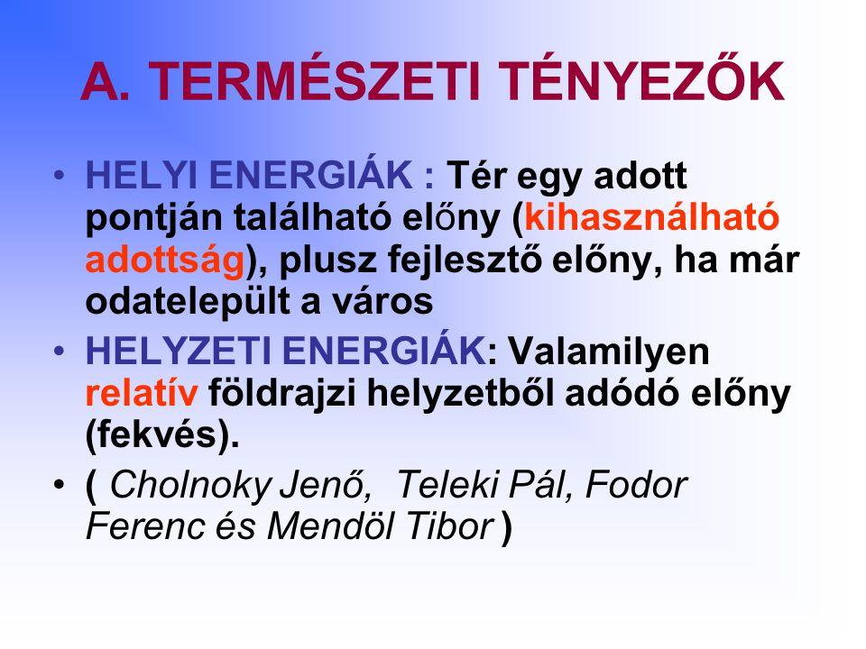 A. TERMÉSZETI TÉNYEZŐK HELYI ENERGIÁK : Tér egy adott pontján található előny (kihasználható adottság), plusz fejlesztő előny, ha már odatelepült a vá