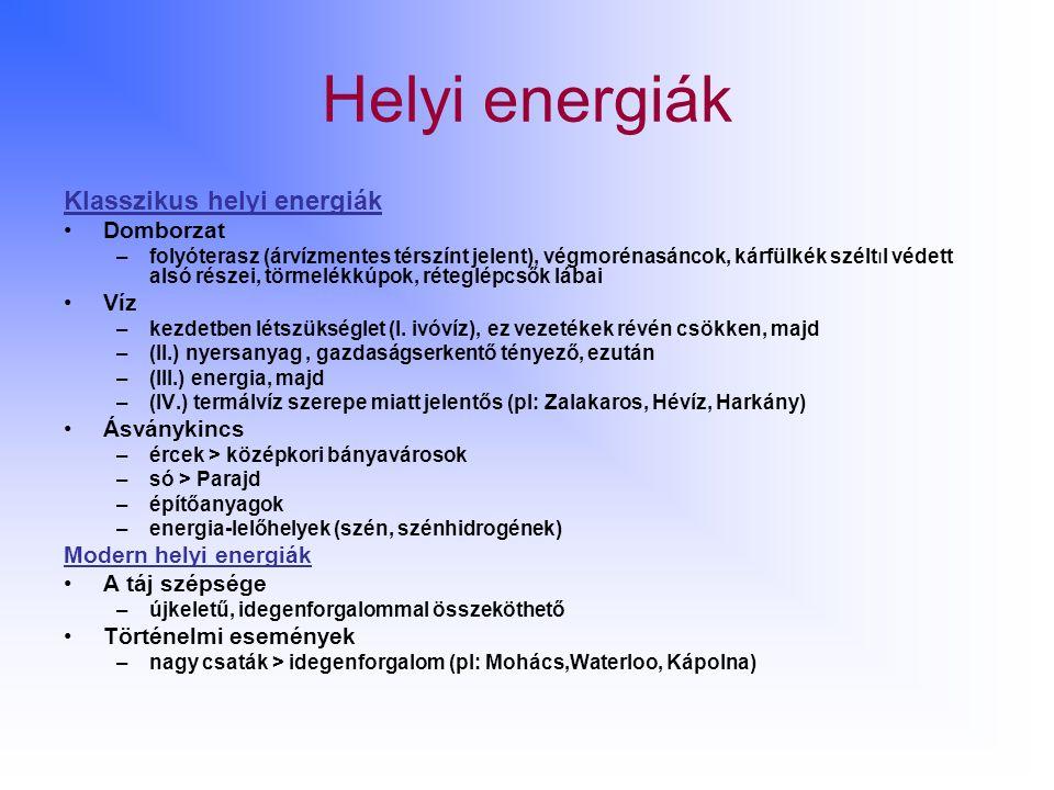 Helyi energiák Klasszikus helyi energiák Domborzat –folyóterasz (árvízmentes térszínt jelent), végmorénasáncok, kárfülkék széltıl védett alsó részei, törmelékkúpok, réteglépcsők lábai Víz –kezdetben létszükséglet (I.