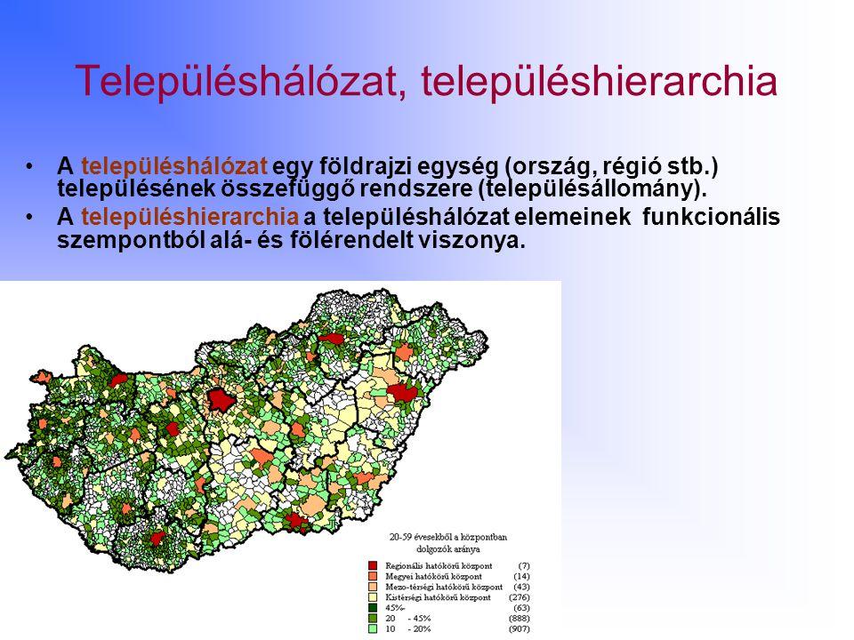 Településhálózat, településhierarchia A településhálózat egy földrajzi egység (ország, régió stb.) településének összefüggő rendszere (településállomány).