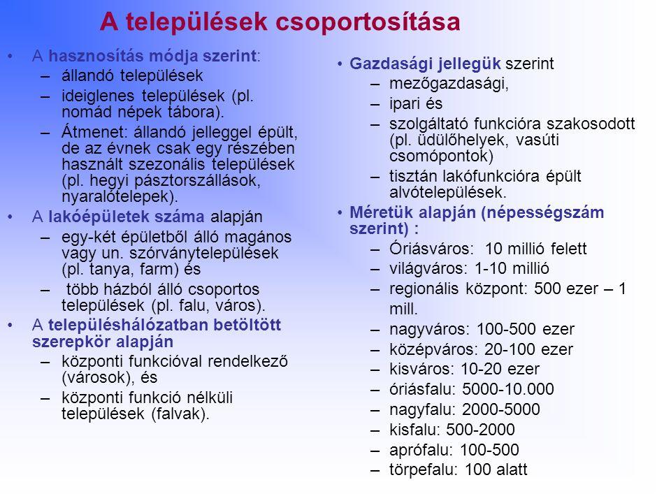 A települések csoportosítása A hasznosítás módja szerint: –állandó települések –ideiglenes települések (pl. nomád népek tábora). –Átmenet: állandó jel