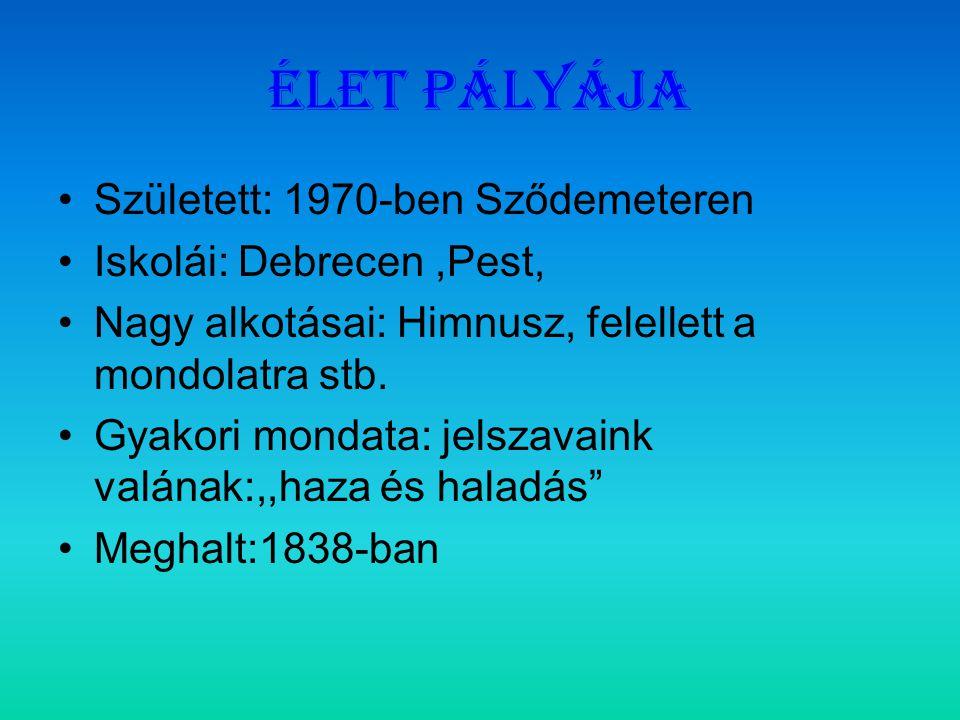 Élet pályája Született: 1970-ben Sződemeteren Iskolái: Debrecen,Pest, Nagy alkotásai: Himnusz, felellett a mondolatra stb.