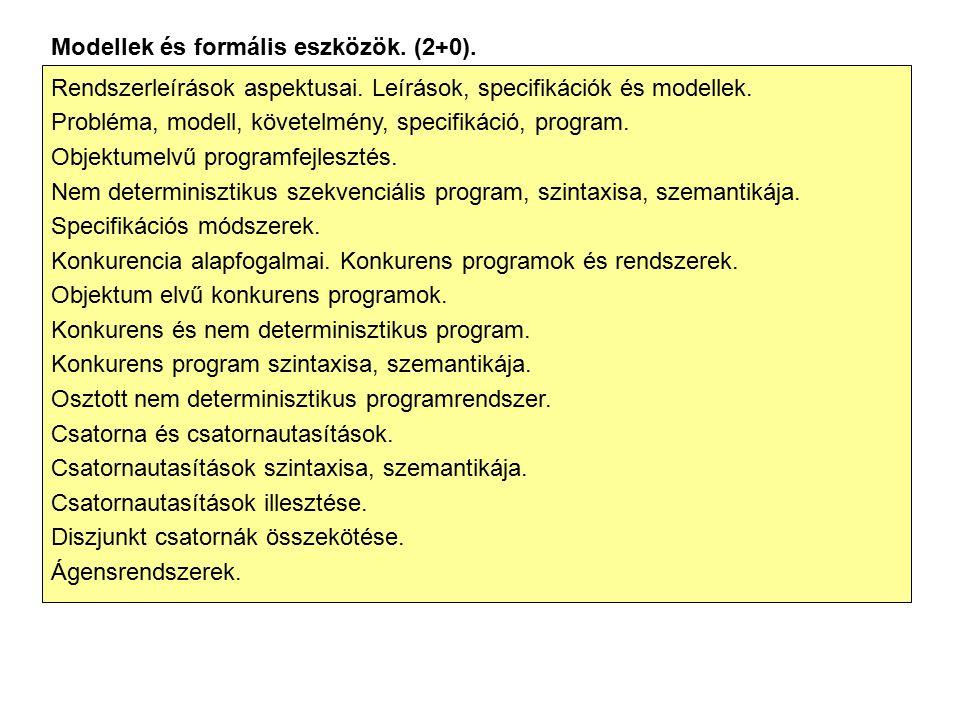Modellek és formális eszközök. (2+0). Rendszerleírások aspektusai. Leírások, specifikációk és modellek. Probléma, modell, követelmény, specifikáció, p