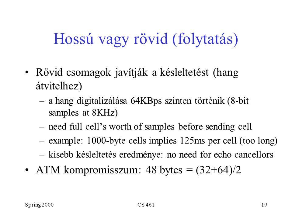 Spring 2000CS 46119 Hossú vagy rövid (folytatás) Rövid csomagok javítják a késleltetést (hang átvitelhez) –a hang digitalizálása 64KBps szinten történik (8-bit samples at 8KHz) –need full cell's worth of samples before sending cell –example: 1000-byte cells implies 125ms per cell (too long) –kisebb késleltetés eredménye: no need for echo cancellors ATM kompromisszum: 48 bytes = (32+64)/2