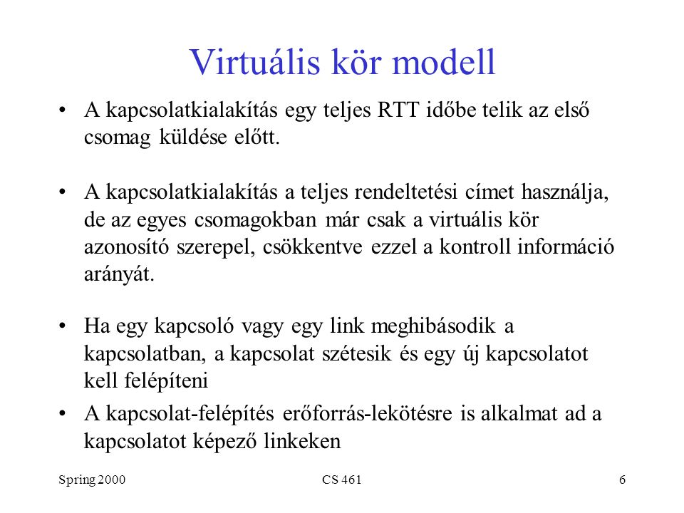 Spring 2000CS 4616 Virtuális kör modell A kapcsolatkialakítás egy teljes RTT időbe telik az első csomag küldése előtt. A kapcsolatkialakítás a teljes