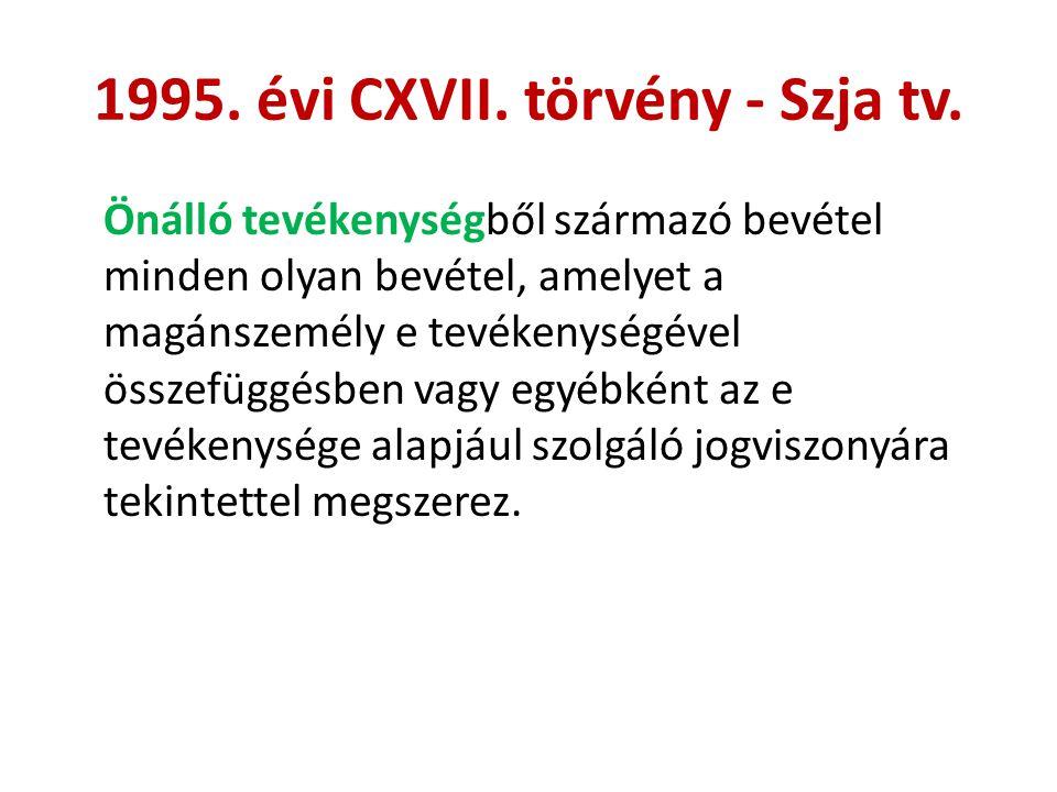 1995. évi CXVII. törvény - Szja tv. Önálló tevékenységből származó bevétel minden olyan bevétel, amelyet a magánszemély e tevékenységével összefüggésb