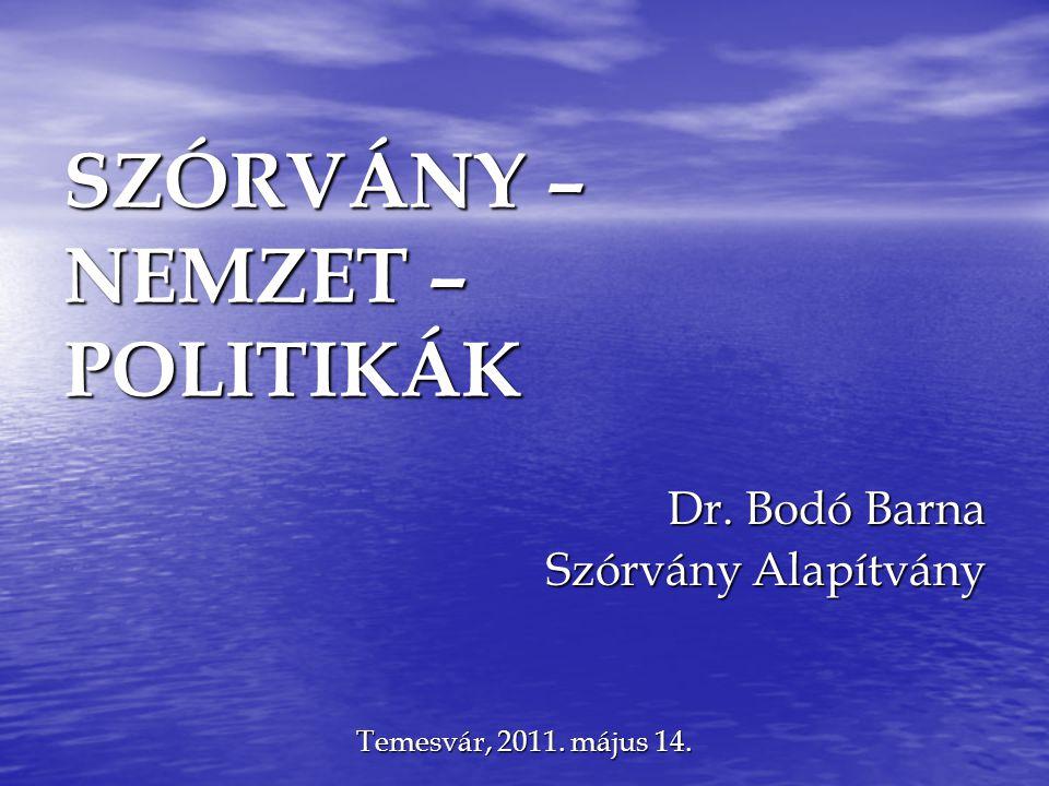 SZÓRVÁNY – NEMZET – POLITIKÁK Dr. Bodó Barna Szórvány Alapítvány Temesvár, 2011. május 14.