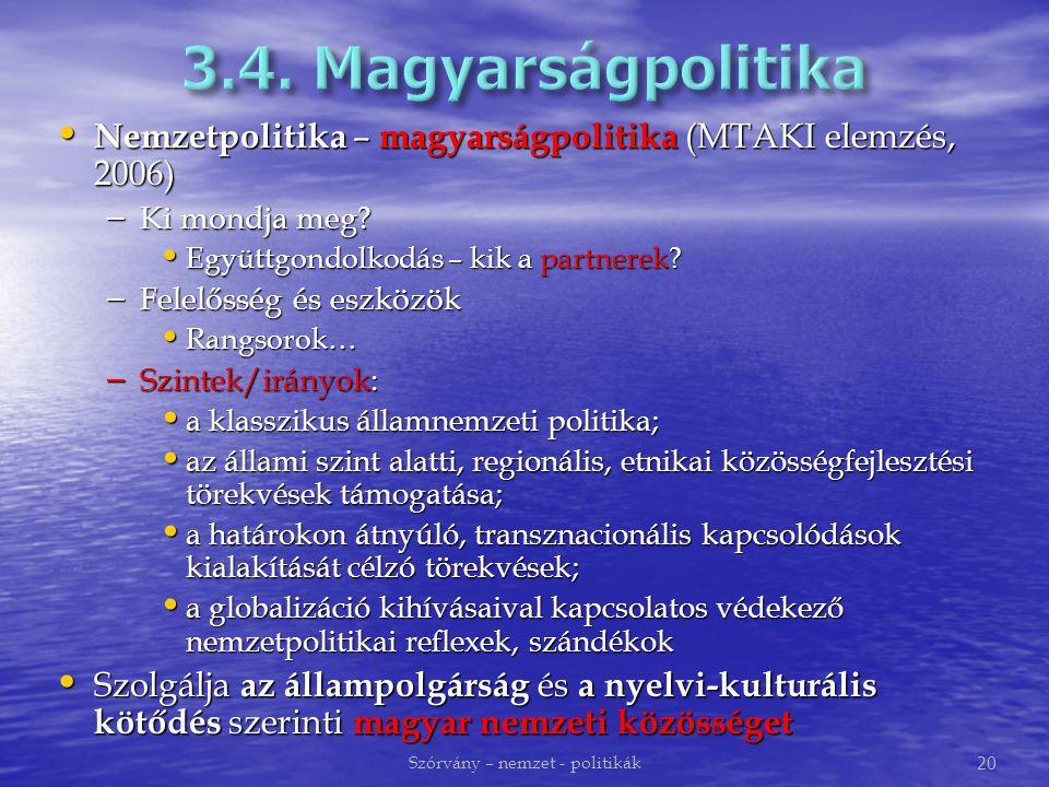 Nemzetpolitika – magyarságpolitika (MTAKI elemzés, 2006) Nemzetpolitika – magyarságpolitika (MTAKI elemzés, 2006) – Ki mondja meg.