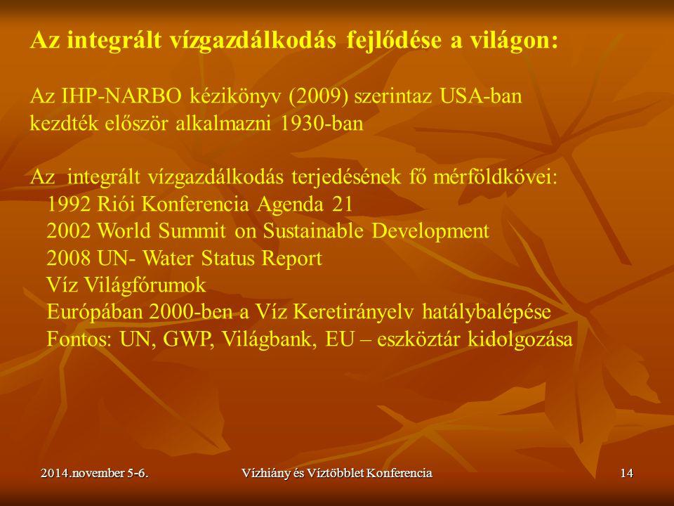 2014.november 5-6.Vízhiány és Víztöbblet Konferencia14 Az integrált vízgazdálkodás fejlődése a világon: Az IHP-NARBO kézikönyv (2009) szerintaz USA-ba