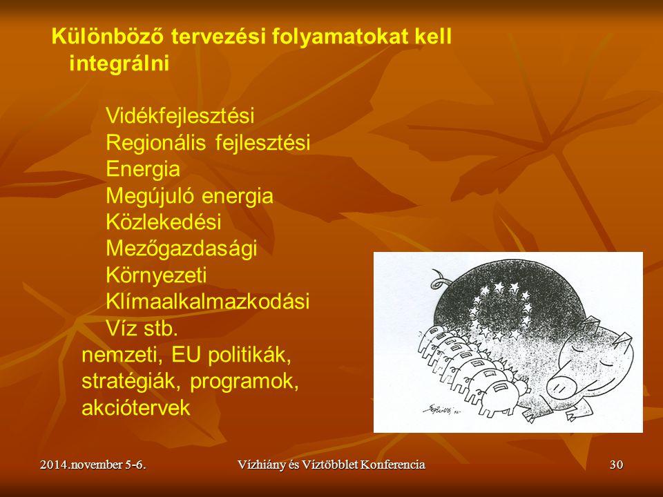 2014.november 5-6.Vízhiány és Víztöbblet Konferencia30 Különböző tervezési folyamatokat kell integrálni Vidékfejlesztési Regionális fejlesztési Energi