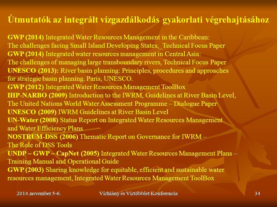 2014.november 5-6.Vízhiány és Víztöbblet Konferencia34 Útmutatók az integrált vízgazdálkodás gyakorlati végrehajtásához GWP (2014) Integrated Water Re