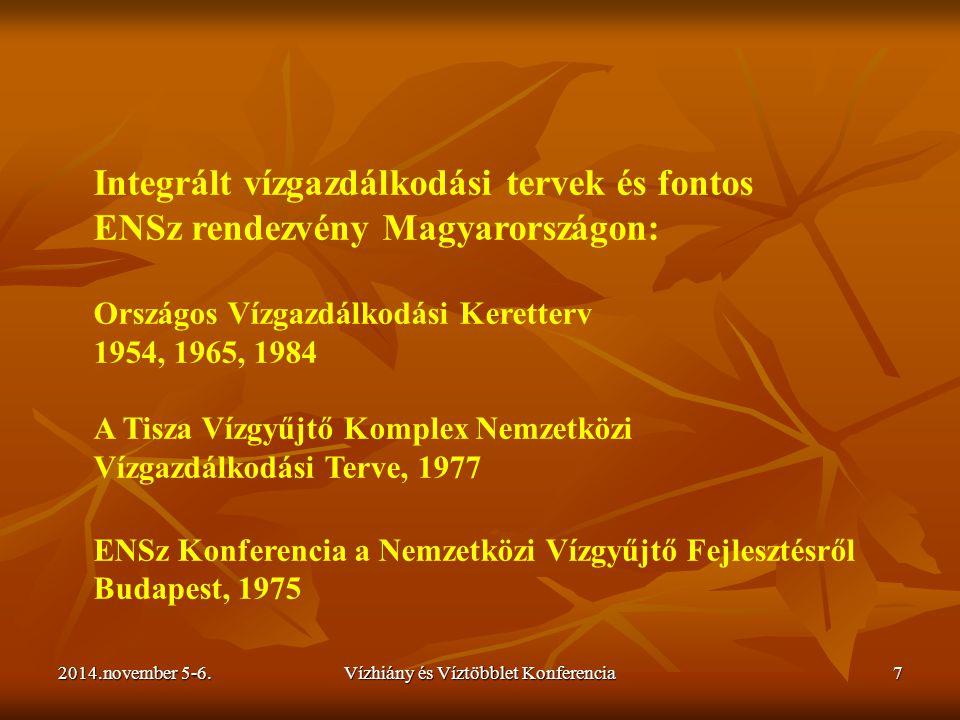 2014.november 5-6.Vízhiány és Víztöbblet Konferencia7 Integrált vízgazdálkodási tervek és fontos ENSz rendezvény Magyarországon: Országos Vízgazdálkod