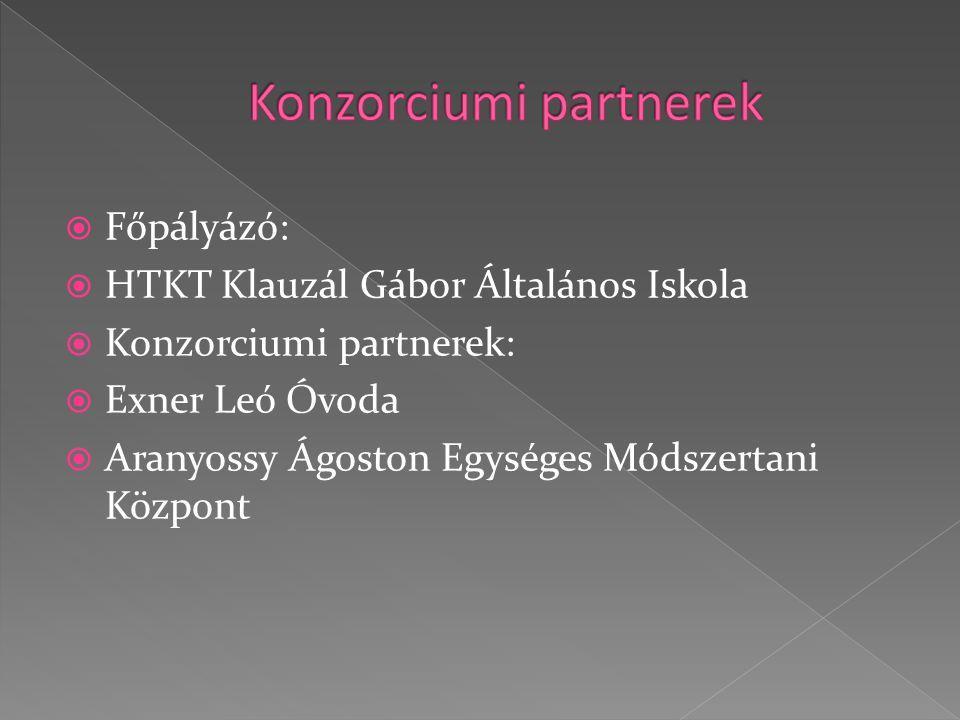  Főpályázó:  HTKT Klauzál Gábor Általános Iskola  Konzorciumi partnerek:  Exner Leó Óvoda  Aranyossy Ágoston Egységes Módszertani Központ