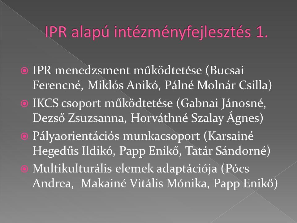  IPR menedzsment működtetése (Bucsai Ferencné, Miklós Anikó, Pálné Molnár Csilla)  IKCS csoport működtetése (Gabnai Jánosné, Dezső Zsuzsanna, Horváthné Szalay Ágnes)  Pályaorientációs munkacsoport (Karsainé Hegedűs Ildikó, Papp Enikő, Tatár Sándorné)  Multikulturális elemek adaptációja (Pócs Andrea, Makainé Vitális Mónika, Papp Enikő)