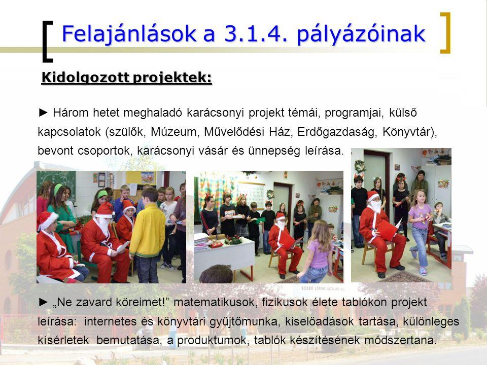 Felajánlások a 3.1.4. pályázóinak Kidolgozott projektek: ► Három hetet meghaladó karácsonyi projekt témái, programjai, külső kapcsolatok (szülők, Múze