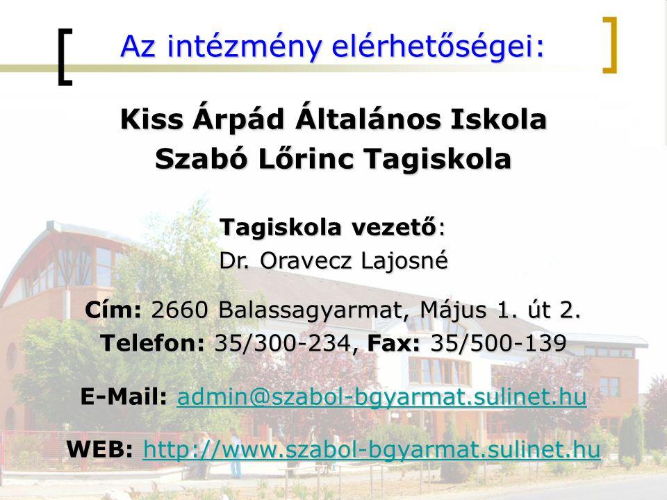 Az intézmény elérhetőségei: Kiss Árpád Általános Iskola Szabó Lőrinc Tagiskola Tagiskola vezető: Dr. Oravecz Lajosné Cím: 2660 Balassagyarmat, Május 1