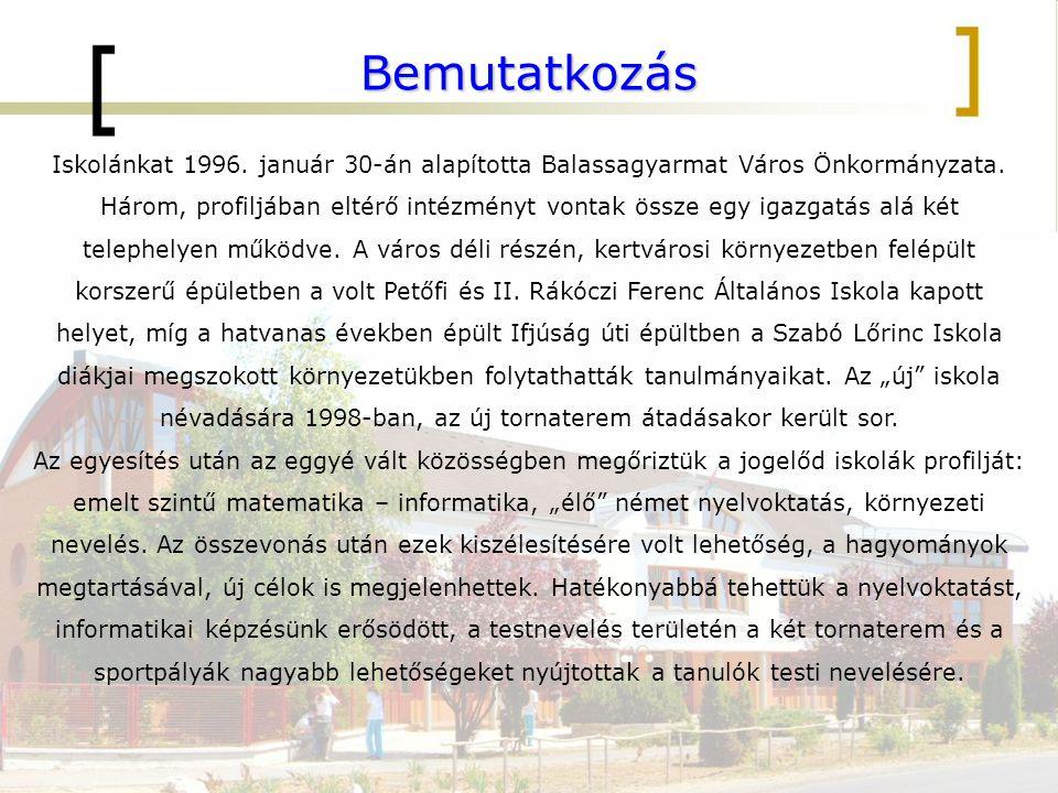 Bemutatkozás Iskolánkat 1996. január 30-án alapította Balassagyarmat Város Önkormányzata. Három, profiljában eltérő intézményt vontak össze egy igazga