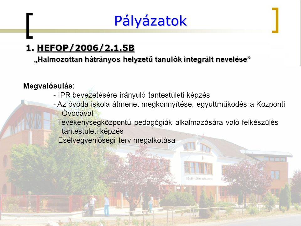 """Pályázatok 1.HEFOP/2006/2.1.5B """"Halmozottan hátrányos helyzetű tanulók integrált nevelése """"Halmozottan hátrányos helyzetű tanulók integrált nevelése Megvalósulás: - IPR bevezetésére irányuló tantestületi képzés - Az óvoda iskola átmenet megkönnyítése, együttműködés a Központi Óvodával - Tevékenységközpontú pedagógiák alkalmazására való felkészülés tantestületi képzés - Esélyegyenlőségi terv megalkotása"""