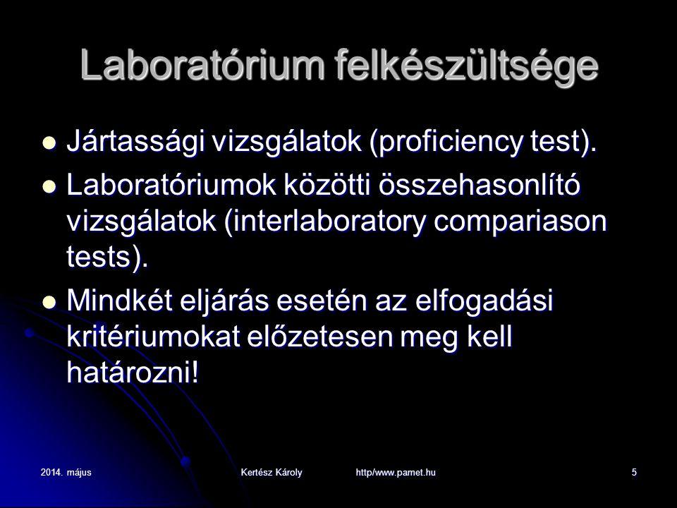 2014. májusKertész Károly http/www.pamet.hu5 Laboratórium felkészültsége Jártassági vizsgálatok (proficiency test). Jártassági vizsgálatok (proficienc