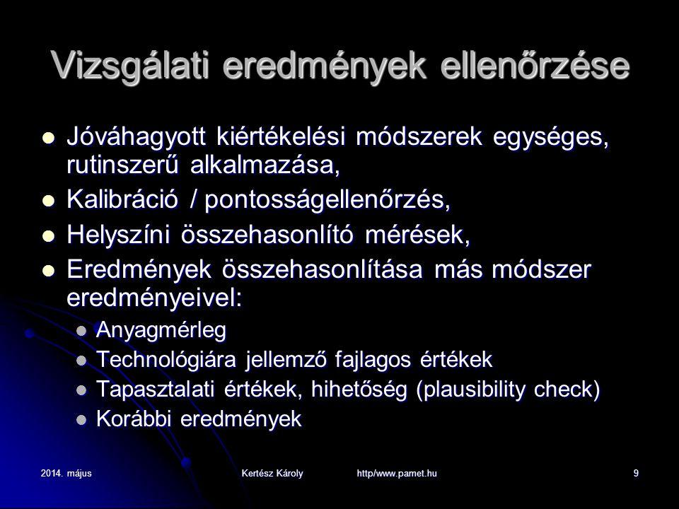 2014. májusKertész Károly http/www.pamet.hu9 Vizsgálati eredmények ellenőrzése Jóváhagyott kiértékelési módszerek egységes, rutinszerű alkalmazása, Jó