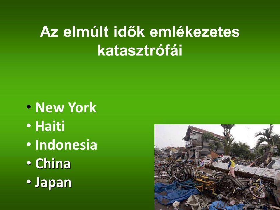 Az elmúlt idők emlékezetes katasztrófái New York Haiti Indonesia China China Japan Japan 13