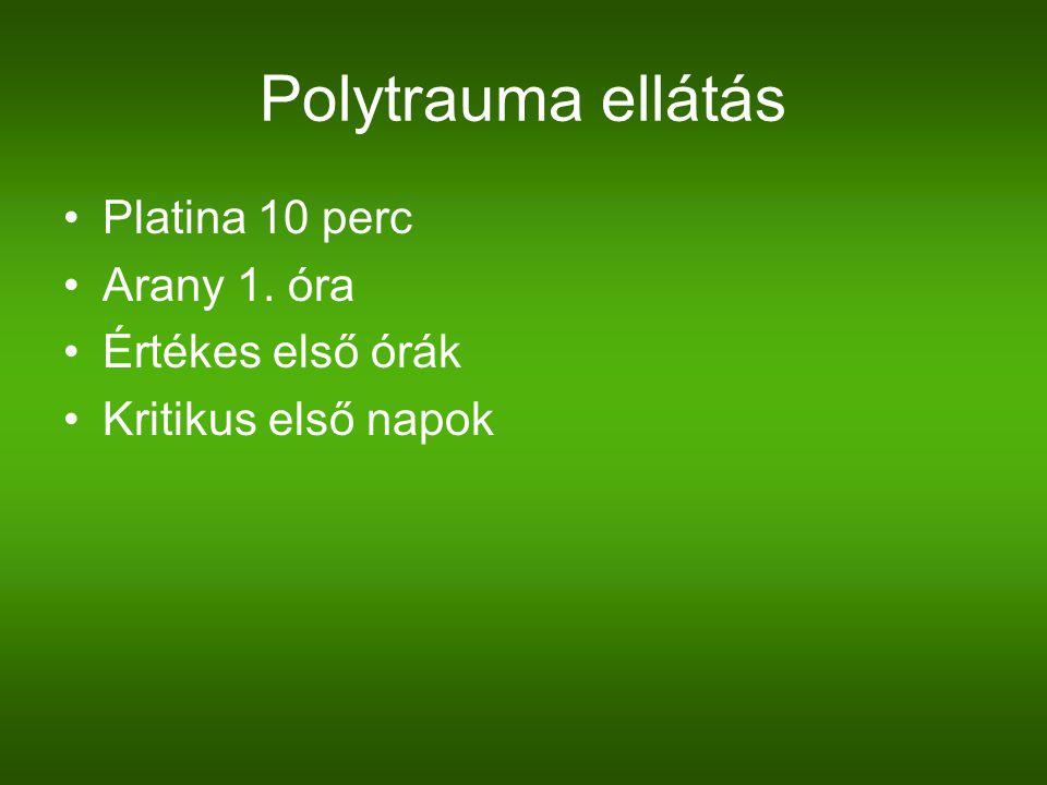 Polytrauma ellátás Platina 10 perc Arany 1. óra Értékes első órák Kritikus első napok