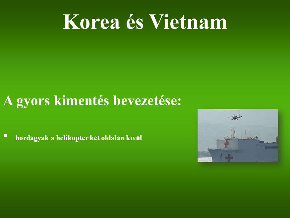 A gyors kimentés bevezetése: hordágyak a helikopter két oldalán kívül Korea és Vietnam