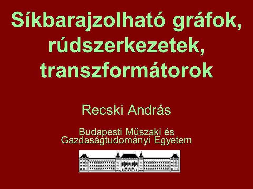 Síkbarajzolható gráfok, rúdszerkezetek, transzformátorok Recski András Budapesti Műszaki és Gazdaságtudományi Egyetem