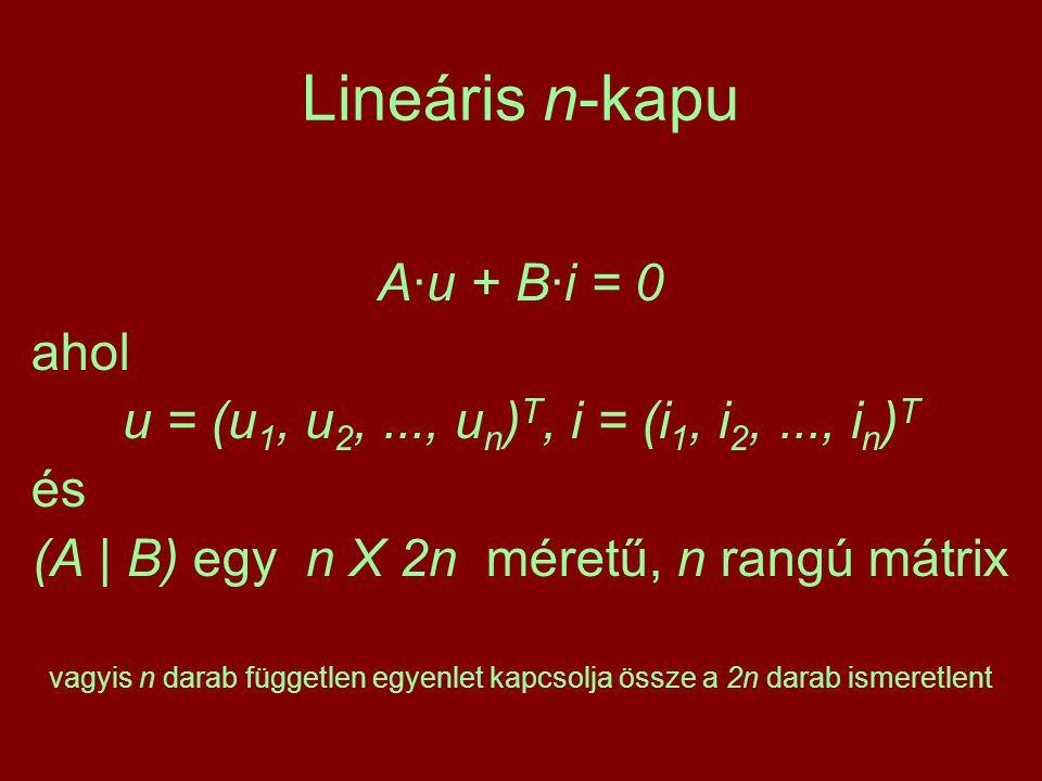 Lineáris n-kapu A·u + B·i = 0 ahol u = (u 1, u 2,..., u n ) T, i = (i 1, i 2,..., i n ) T és (A | B) egy n X 2n méretű, n rangú mátrix vagyis n darab független egyenlet kapcsolja össze a 2n darab ismeretlent