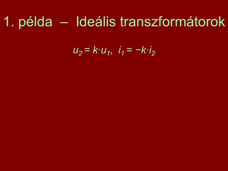 1. példa – Ideális transzformátorok u 2 = k·u 1, i 1 = −k·i 2