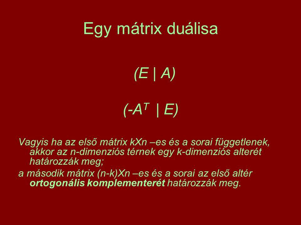 Egy mátrix duálisa (E | A) (-A T | E) Vagyis ha az első mátrix kXn –es és a sorai függetlenek, akkor az n-dimenziós térnek egy k-dimenziós alterét határozzák meg; a második mátrix (n-k)Xn –es és a sorai az első altér ortogonális komplementerét határozzák meg.