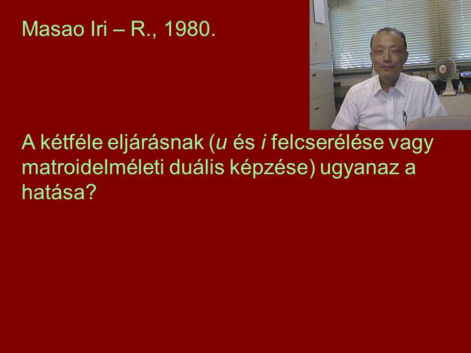 Masao Iri – R., 1980. A kétféle eljárásnak (u és i felcserélése vagy matroidelméleti duális képzése) ugyanaz a hatása?