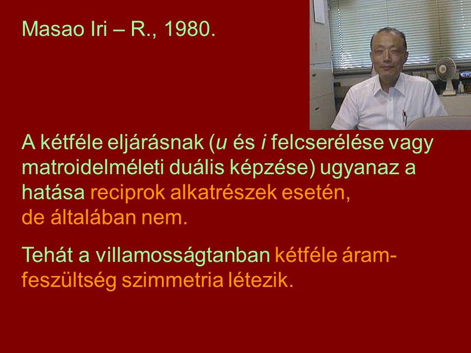 Masao Iri – R., 1980. A kétféle eljárásnak (u és i felcserélése vagy matroidelméleti duális képzése) ugyanaz a hatása reciprok alkatrészek esetén, de