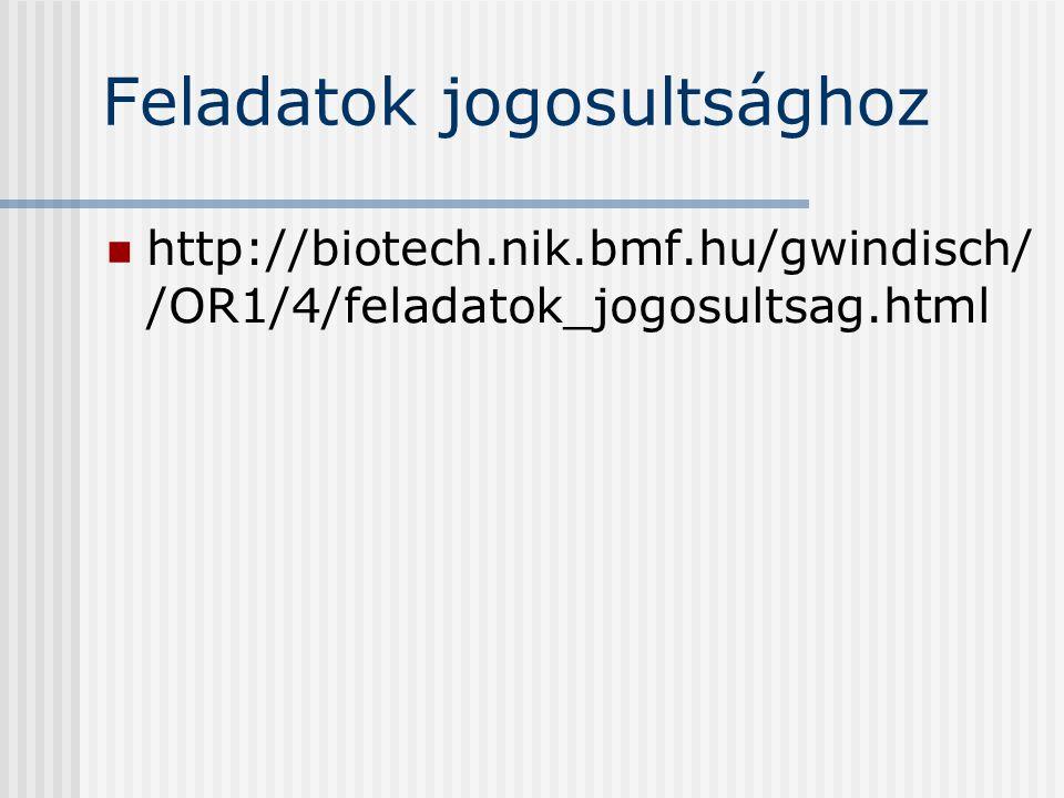 Feladatok jogosultsághoz http://biotech.nik.bmf.hu/gwindisch/ /OR1/4/feladatok_jogosultsag.html
