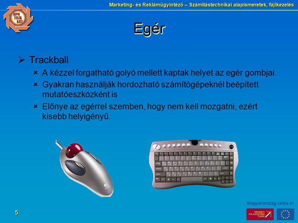 Marketing- és Reklámügyintéző – Számítástechnikai alapismeretek, fájlkezelés 5 EgérEgér  Trackball  A kézzel forgatható golyó mellett kaptak helyet az egér gombjai.