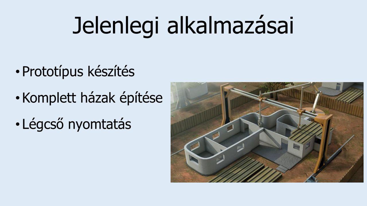 Jelenlegi alkalmazásai Prototípus készítés Komplett házak építése Légcső nyomtatás