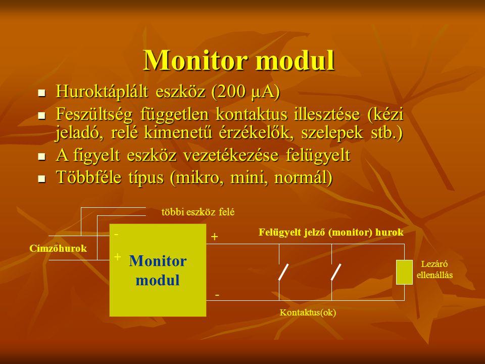 Huroktáplált eszköz (200 µA) Huroktáplált eszköz (200 µA) Feszültség független kontaktus illesztése (kézi jeladó, relé kimenetű érzékelők, szelepek stb.) Feszültség független kontaktus illesztése (kézi jeladó, relé kimenetű érzékelők, szelepek stb.) A figyelt eszköz vezetékezése felügyelt A figyelt eszköz vezetékezése felügyelt Többféle típus (mikro, mini, normál) Többféle típus (mikro, mini, normál) Monitor modul Címzőhurok Monitor modul Felügyelt jelző (monitor) hurok Kontaktus(ok) Lezáró ellenállás + - + - többi eszköz felé