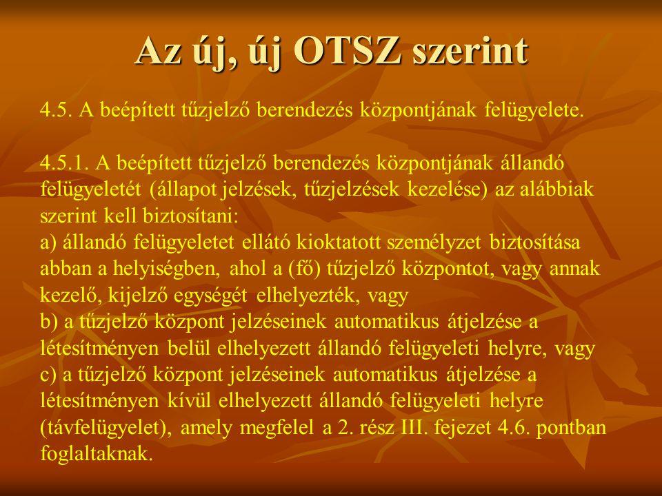 Az új, új OTSZ szerint 4.5.A beépített tűzjelző berendezés központjának felügyelete.