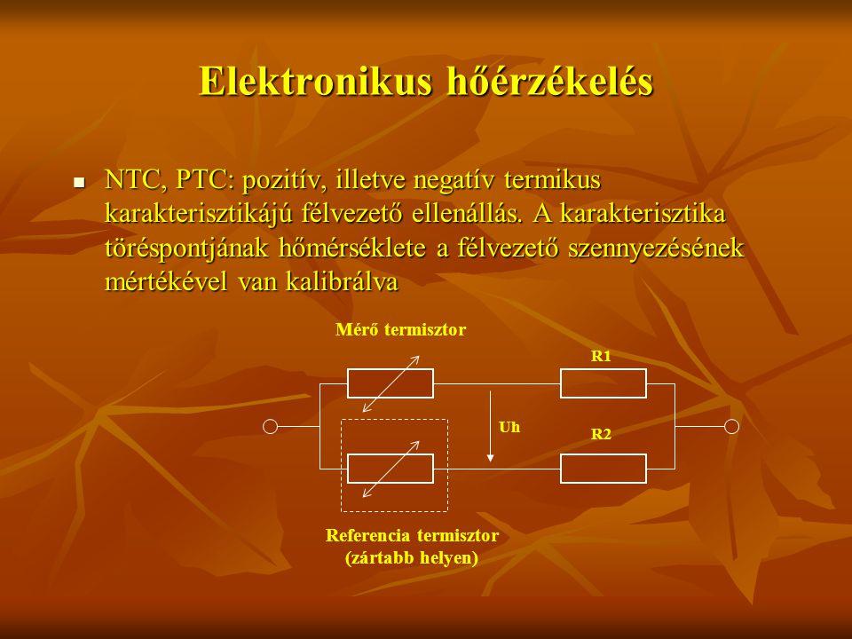 Elektronikus hőérzékelés NTC, PTC: pozitív, illetve negatív termikus karakterisztikájú félvezető ellenállás.
