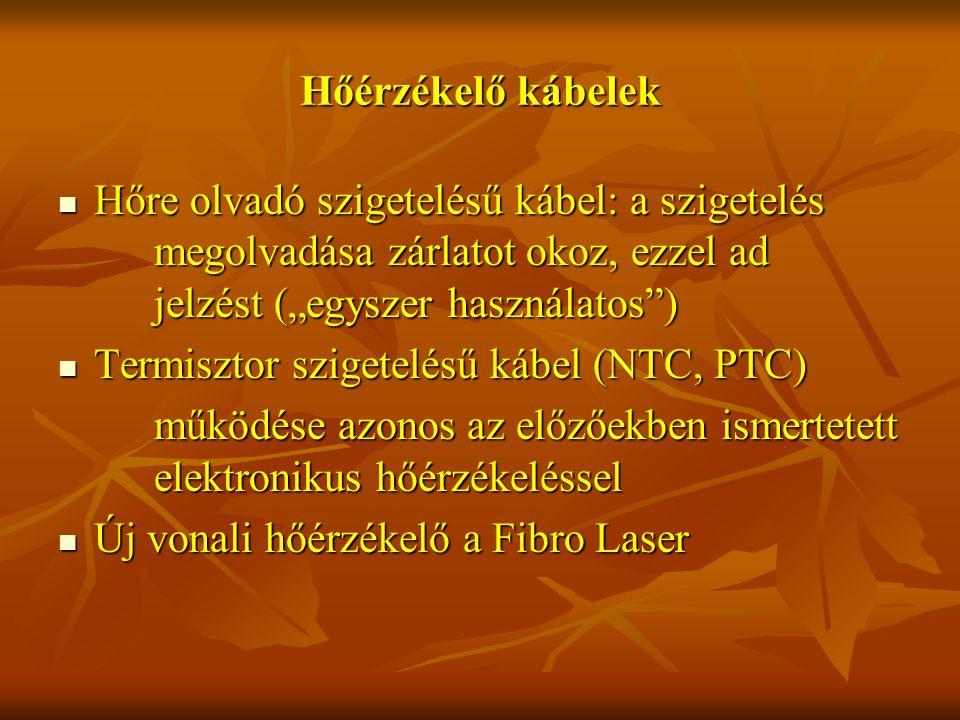 """Hőérzékelő kábelek Hőre olvadó szigetelésű kábel: a szigetelés megolvadása zárlatot okoz, ezzel ad jelzést (""""egyszer használatos ) Hőre olvadó szigetelésű kábel: a szigetelés megolvadása zárlatot okoz, ezzel ad jelzést (""""egyszer használatos ) Termisztor szigetelésű kábel (NTC, PTC) Termisztor szigetelésű kábel (NTC, PTC) működése azonos az előzőekben ismertetett elektronikus hőérzékeléssel Új vonali hőérzékelő a Fibro Laser Új vonali hőérzékelő a Fibro Laser"""