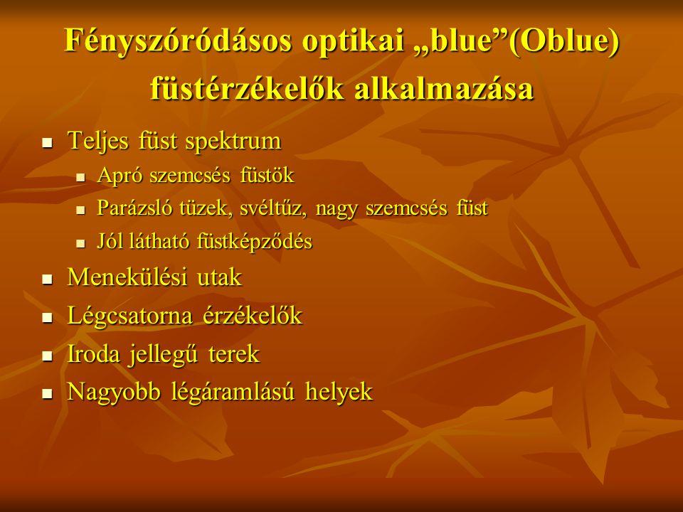 """Fényszóródásos optikai """"blue (Oblue) füstérzékelők alkalmazása Teljes füst spektrum Teljes füst spektrum Apró szemcsés füstök Apró szemcsés füstök Parázsló tüzek, svéltűz, nagy szemcsés füst Parázsló tüzek, svéltűz, nagy szemcsés füst Jól látható füstképződés Jól látható füstképződés Menekülési utak Menekülési utak Légcsatorna érzékelők Légcsatorna érzékelők Iroda jellegű terek Iroda jellegű terek Nagyobb légáramlású helyek Nagyobb légáramlású helyek"""