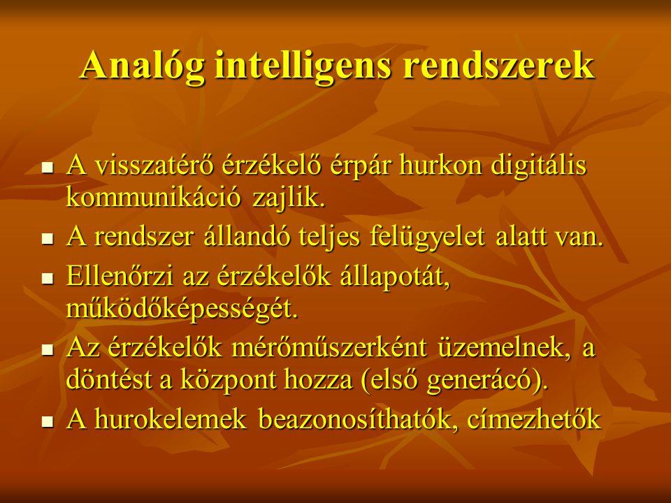 Analóg intelligens rendszerek A visszatérő érzékelő érpár hurkon digitális kommunikáció zajlik.